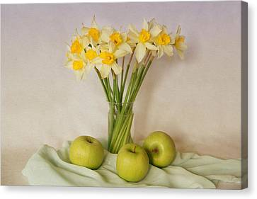 Spring Daffodils And Green Apples Canvas Print