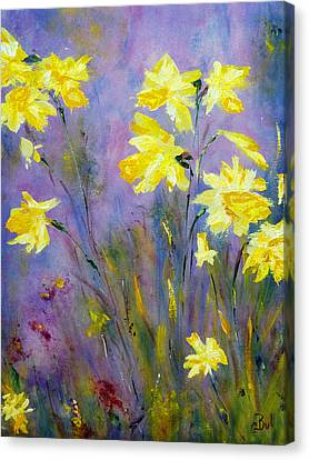 Canvas Print featuring the painting Spring Daffodils by Claire Bull