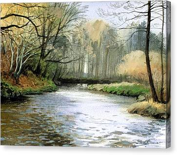 Canvas Print featuring the painting Spring Day On A River by Sergey Zhiboedov