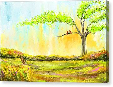 Cherry Tree Canvas Print - Spring Day - Spring Paintings by Lourry Legarde