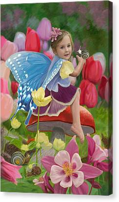 Mushroom Canvas Print - Spring Fairy by Lucie Bilodeau