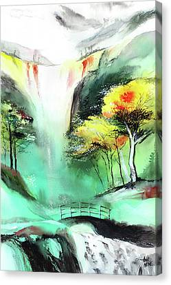 Canvas Print featuring the painting Spring Fall by Anil Nene