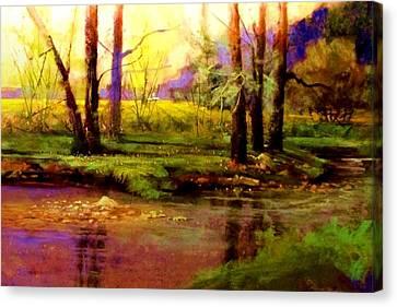 Spring Fields Along Sunlite Creek Canvas Print by Joseph Barani