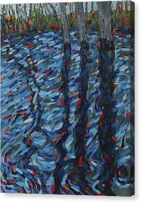 Spring Floods Canvas Print - Spring Flood Reflections by Phil Chadwick