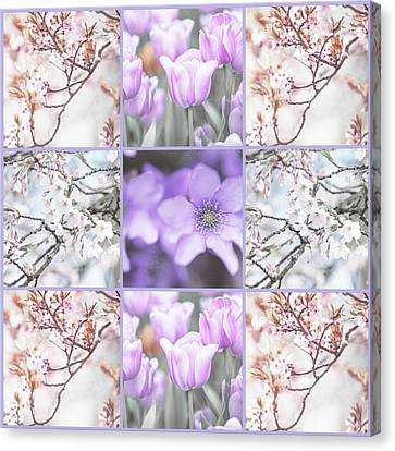 Canvas Print featuring the photograph Spring Flower Collage. Shabby Chic Collection  by Jenny Rainbow