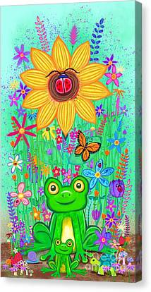 Canvas Print - Spring Flowers And Frogs by Nick Gustafson