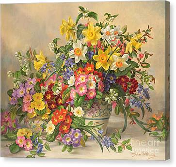 Spring Flowers And Poole Pottery Canvas Print by Albert Williams