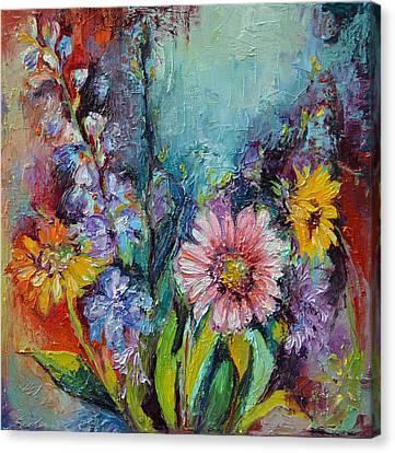 Spring Flowers - Gerbera - Oil Relief Painting Canvas Print