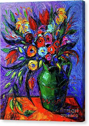 Spring Flowers In Green Jug Canvas Print by Mona Edulesco