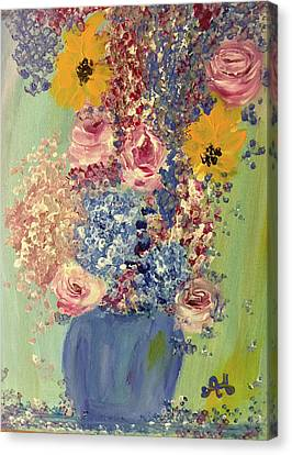 Spring Flowers In Vase Canvas Print by Angela Holmes