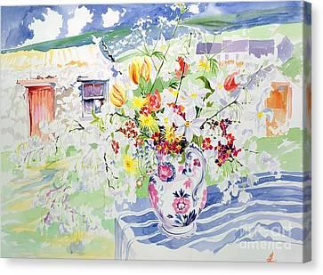 Spring Flowers On The Island Canvas Print by Elizabeth Jane Lloyd