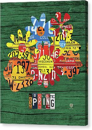 Spring Has Sprung Recycled Vintage Colorful Flowers License Plate Art Canvas Print
