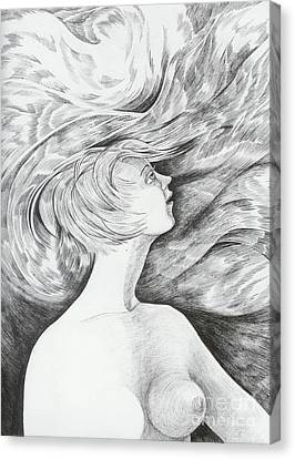 Canvas Print featuring the drawing Spring I by Anna  Duyunova