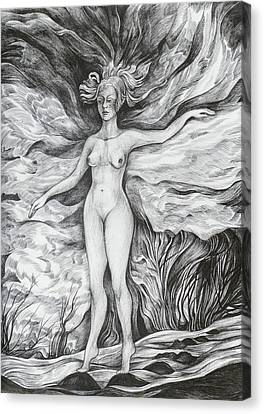 Canvas Print featuring the drawing Spring II by Anna  Duyunova