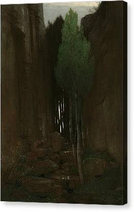 Spring In A Narrow Gorge Canvas Print by Arnold Bocklin