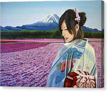 Geisha Girl Canvas Print - Spring In Japan by Paul Meijering