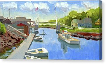 Spring In Perkins Cove Canvas Print by Mary Byrom