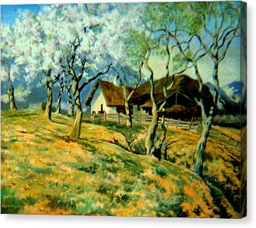 Canvas Print featuring the painting Spring In Poland by Henryk Gorecki
