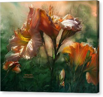 Peaches Canvas Print - Spring Lilies by Carol Cavalaris