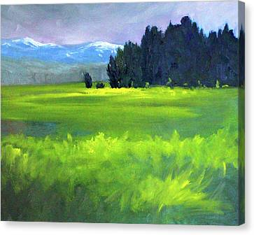 Canvas Print featuring the painting Spring Meadow by Nancy Merkle