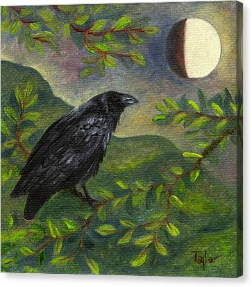 Spring Moon Raven Canvas Print
