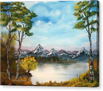 Spring Morning By The Lake Canvas Print by Larry Hamilton