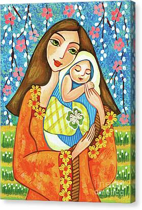 Canvas Print featuring the painting Spring Mother by Eva Campbell