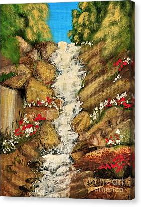 Spring Mountain Waterfall Canvas Print by Sharon Eng