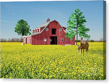 Spring On The Farm Canvas Print by Bonnie Barry