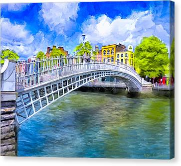 Spring On The Liffey - Historic Dublin Canvas Print