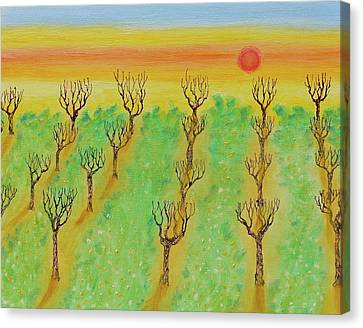 Bare Trees Canvas Print - Spring Orchard Sunset by Michele Myers