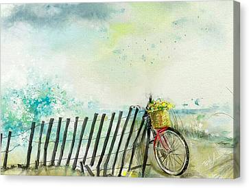 Bicycle With Flowers Canvas Print - Bicycle Ride. Mayflower Storm. by Mark Tonelli
