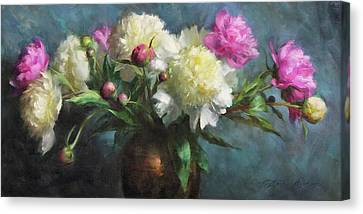 Spring Peonies Canvas Print by Anna Rose Bain