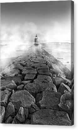 Spring Point Ledge Light Sea Smoke Bw Canvas Print