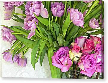 Spring Roses And Tulips Canvas Print by Margaret Hood