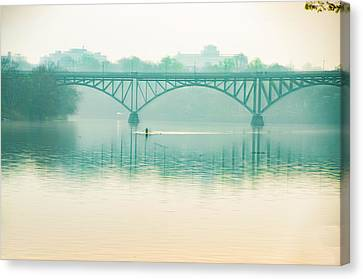 Canvas Print featuring the photograph Spring - Rowing Under The Strawberry Mansion Bridge by Bill Cannon