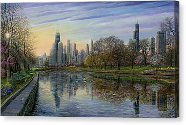 Chicago Skyline Canvas Print - Spring Serenity  by Doug Kreuger