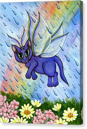 Spring Showers Fairy Cat Canvas Print by Carrie Hawks