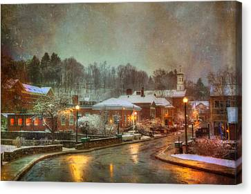 Spring Snow In Peterborough Nh Canvas Print by Joann Vitali