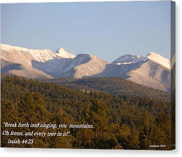 Canvas Print featuring the photograph Spring Snow On The Sangre De Cristos Truchas Peaks by Anastasia Savage Ealy