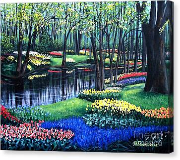 Canvas Print featuring the painting Spring Splendor Tulip Garden by Patricia L Davidson