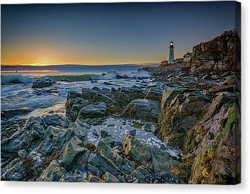 Spring Sunrise At Portland Head Canvas Print by Rick Berk