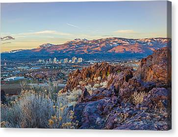 Spring Sunrise Overlooking Reno Nevada Canvas Print by Scott McGuire