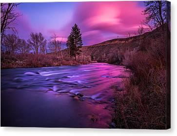 Spring Sunset Along The Truckee River Reno Nevada Canvas Print