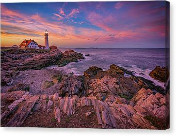 Spring Sunset At Portland Head Lighthouse Canvas Print by Rick Berk