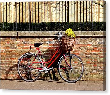 Bicycle With Flowers Canvas Print - Spring Sunshine And Shadows - Bicycle In Cambridge by Gill Billington