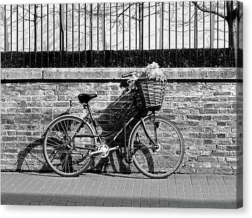 Bicycle With Flowers Canvas Print - Spring Sunshine And Shadows In Black And White by Gill Billington