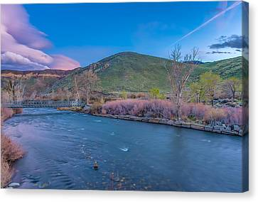 Canvas Print featuring the photograph Spring Twilight Along The Truckee River Reno Nevada by Scott McGuire