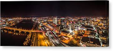 Springfield Massachusetts Night Long Exposure Panorama Canvas Print by Petr Hejl