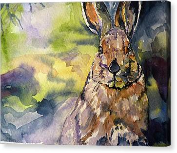 Canvas Print featuring the painting Springs Almost Hare by P Maure Bausch
